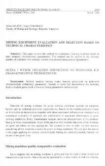 Mining equipment evaluation and selection based on technical characteristics