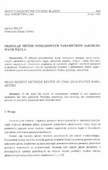 Przegląd metod pomiarowych parametrów jakościowych węgla