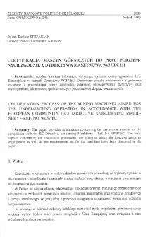 Certyfikacja maszyn górniczych do prac podziemnych zgodnie z Dyrektywą Maszynową 98/37/EC [1]