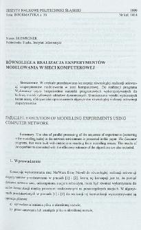 Równoległa realizacja eksperymentów modelowania w sieci komputerowej