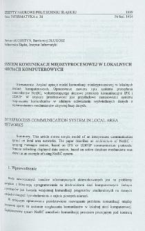 System komunikacji międzyprocesowej w lokalnych sieciach komputerowych