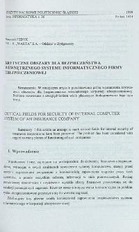 Krytyczne obszary dla bezpieczeństwa wewnętrznego systemu informatycznego firmy ubezpieczeniowej
