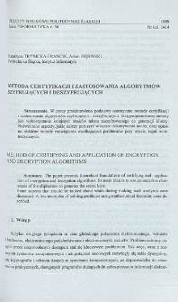 Metoda certyfikacji i zastosowania algorytmów szyfrujących i deszyfrujących