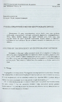 Analiza sprawności metod kryptograficznych
