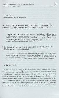 Mechanizmy ochrony danych w wielodostępnym systemie zarządzania bazami danych Oracle