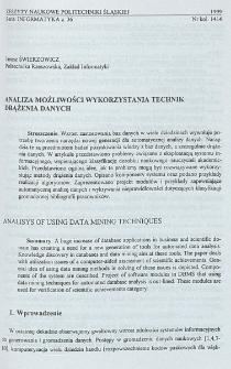 Analiza możliwości wykorzystania technik drążenia danych