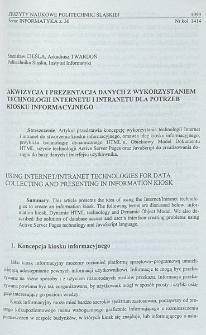 Akwizycja i prezentacja danych z wykorzystaniem technologii Internetu i Intranetu dla potrzeb kiosku informacyjnego