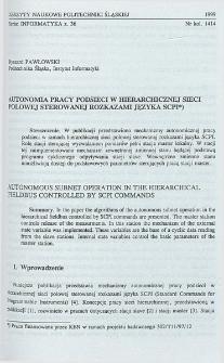 Autonomia pracy podsieci w hierarchicznej sieci polowej sterowanej rozkazami języka SCPI