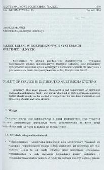 Jakość usług w rozproszonych systemach multimedialnych