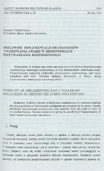 Możliwość implementacji mechanizmów tolerowania awarii w środowiskach przetwarzania rozproszonego