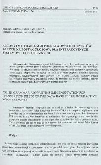 Algorytmy translacji podstawowych formatów danych na postać głosową dla interakcyjnych systemów telefonicznych