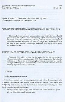 Wydajność mechanizmów komunikacji systemu QNX