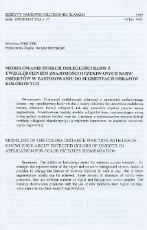 Modelowanie funkcji odległości barw z uwzględnieniem znajomości oczekiwania barw obiektów w zastosowaniu do segmentacji obrazów kolorowych