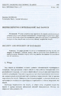 Bezpieczeństwo i integralność baz danych