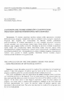 Zastosowanie teorii szeregów czasowych do prognozy krótkoterminowej metanowości