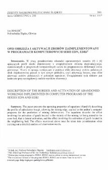 Opis obrzeża i aktywacji zrobów zaimplementowany w programach komputerowych serii EDN, EDBJ