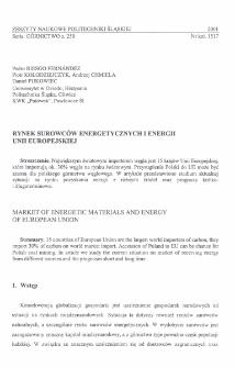 Rynek surowców energetycznych i energii Unii Europejskiej