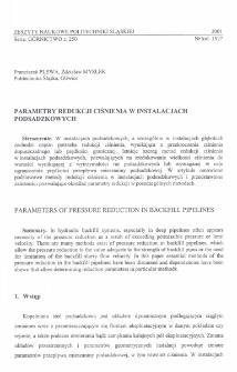 Parametry redukcji ciśnienia w instalacjach podsadzkowych
