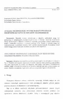 Analiza technologii i wyniki badań utylizacji drobnofrakcyjnych odpadów szlifierskich