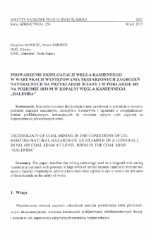 """Prowadzenie eksploatacji węgla kamiennego w warunkach występowania skojarzonych zagrożeń naturalnych na przykładzie ściany 2 w pokładzie 405 na poziomie 1030 m w Kopalni Węgla Kamiennego """"Halemba"""""""
