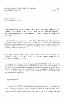 Zastosowanie programu Z.K.S. MOC 2000 do obliczania zmiany strumienia entalpii (mocy cieplnej) powietrza wilgotnego podczas jego przepływu przez wymiennik ciepła