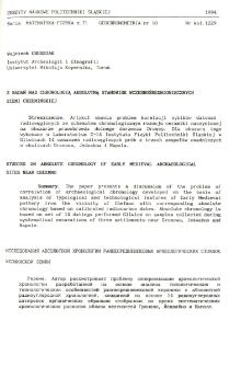 Z badań nad chronologią absolutną stanowisk wczesnośredniowiecznych Ziemii Chełmińskiej