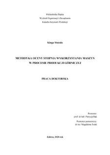 Metodyka oceny stopnia wykorzystania maszyn w procesie produkcji górniczej