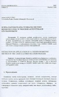 Ocena zastosowania wybranej metody biometrycznej w procesie autentykacji użytkowników