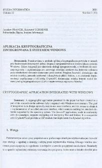 Aplikacja kryptograficzna zintegrowana z systemem Windows