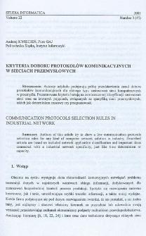 Kryteria doboru protokołów komunikacyjnych w sieciach przemysłowych