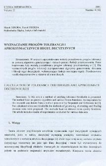 Wyznaczanie progów tolerancji i aproksymacyjnych reguł decyzyjnych