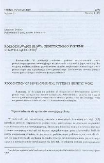 Rozpoznawanie słowa genetycznego systemu rozwijającego się