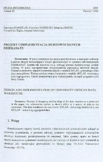 Projekt i implementacja hurtowni danych dziekanatu
