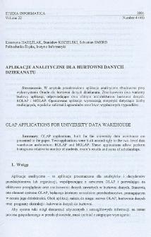 Aplikacje analityczne dla hurtowni danych dziekanatu
