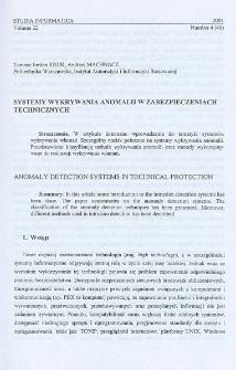 Systemy wykrywania anomalii w zabezpieczeniach technicznych