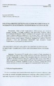 Polityka bezpieczeństwa kluczem do certyfikacji wojskowych systemów teleinformatycznych (TI)