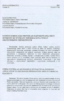System iChem jako przykład zastosowania sieci Internet do wymiany informacji na temat odczynników chemicznych