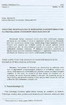 Niektóre rozwiązania w dziedzinie nanoinformatyki na przykładzie systemów biologicznych