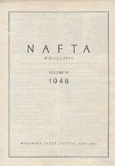 """Spis rzeczy drukowanych w czasopiśmie """"Nafta"""" w roku 1948"""