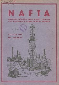 Nafta : miesięcznik poświęcony nauce, technice, statystyce oraz organizacji w polskim przemyśle naftowym, R. 4, Nr 1