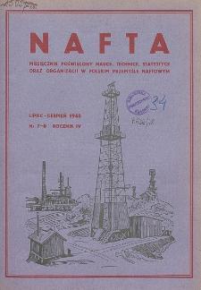 Nafta : miesięcznik poświęcony nauce, technice, statystyce oraz organizacji w polskim przemyśle naftowym, R. 4, Nr 7 - 8
