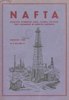 Nafta : miesięcznik poświęcony nauce, technice, statystyce oraz organizacji w polskim przemyśle naftowym, R. 4, Nr 9