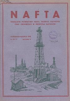 Nafta : miesięcznik poświęcony nauce, technice, statystyce oraz organizacji w polskim przemyśle naftowym, R. 4, Nr 10-11