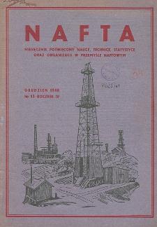 Nafta : miesięcznik poświęcony nauce, technice, statystyce oraz organizacji w polskim przemyśle naftowym, R. 4, Nr 12