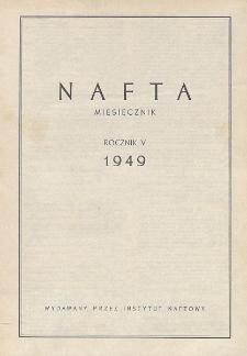 """Spis rzeczy drukowanych w czasopiśmie """"Nafta"""" w roku 1949"""