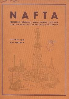 Nafta : miesięcznik poświęcony nauce, technice, statystyce oraz organizacji w polskim przemyśle naftowym, R. 5, Nr 11