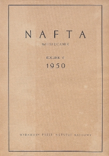 """Spis rzeczy drukowanych w czasopiśmie """"Nafta"""" w roku 1950"""