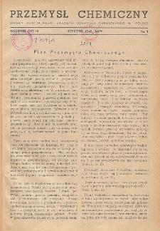 Przemysł Chemiczny. Organ Chemicznego Instytutu Badawczego i Polskiego Towarzystwa Chemicznego. Rocznik (27) IV. Nr 1