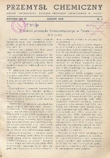 Przemysł Chemiczny. Organ Chemicznego Instytutu Badawczego i Polskiego Towarzystwa Chemicznego. Rocznik (27) IV. Nr 3