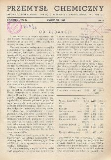 Przemysł Chemiczny. Organ Chemicznego Instytutu Badawczego i Polskiego Towarzystwa Chemicznego. Rocznik (27) IV. Nr 4